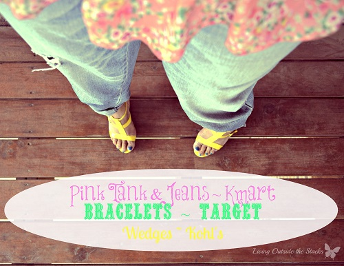 Pink Tank Jeans and Yellow Wedges {Living Outside the Stacks}