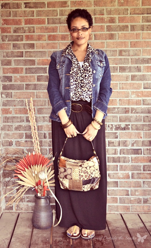 Denim Jacket Animal Print Blouse and Black Maxi Skirt {Living Outside the Stacks}