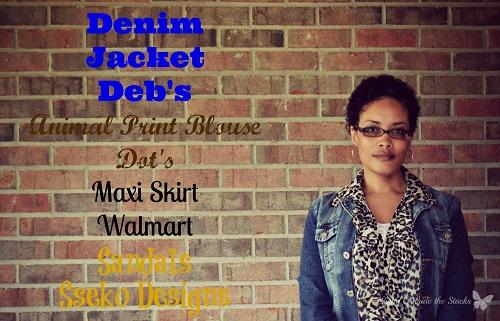 Denim Jacket Animal Print Blouse and Black Maxi Skirt {Living Outside the Stacks}