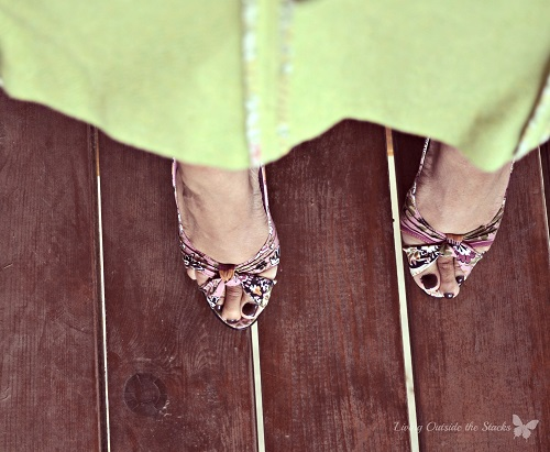 Pink Cardi Black and White Top and Green Tweed Skirt {Living Outside the Stacks}