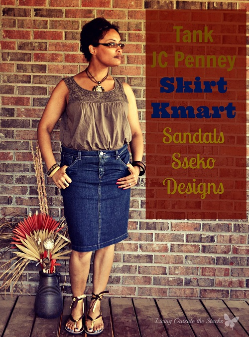 Olive Tank Denim Skirt and Sseko Sandals {Living Outside the Stacks}