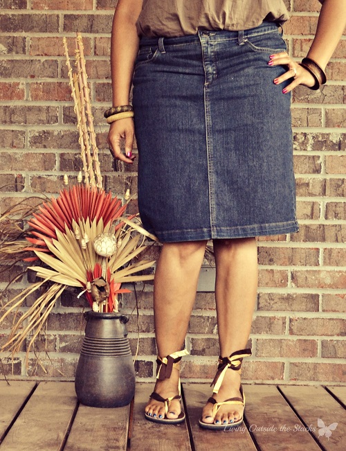 Olive Tank Denim Skirt and Sseko Sandals {Living Outside the Stacks}