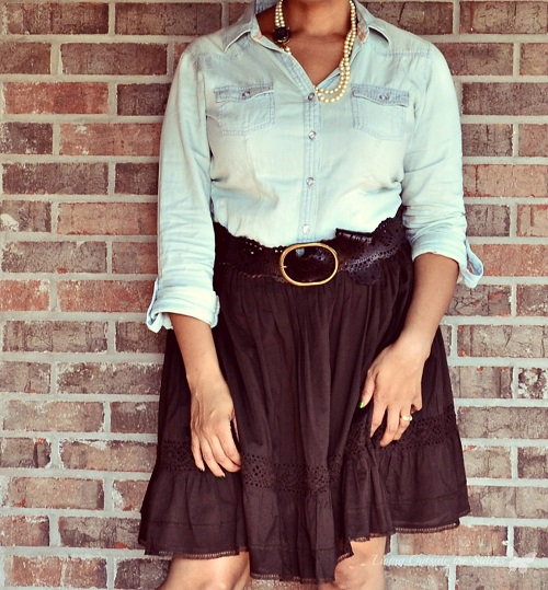 Pearls, Chambray Shirt, and Tiered Skirt {Living Outside the Stacks}