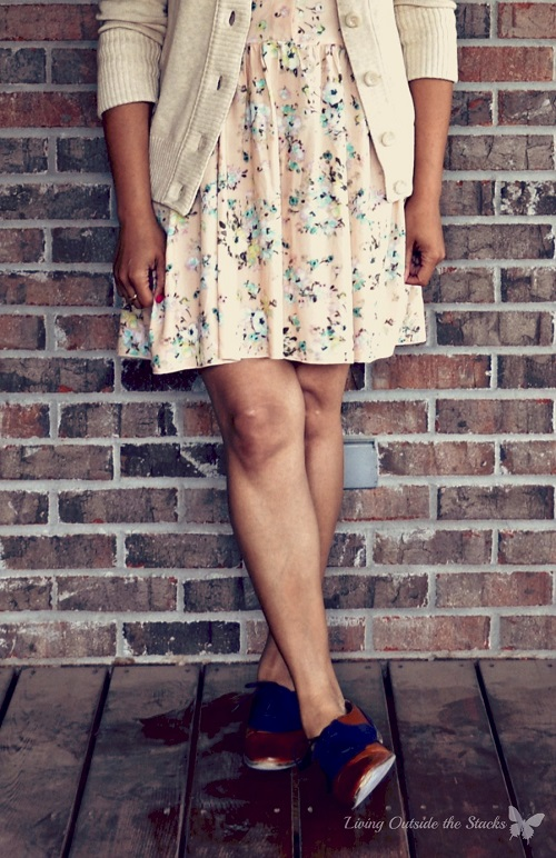 Beige Cardi, Peach Floral Dress, and Oxfords {Living Outside the Stacks}