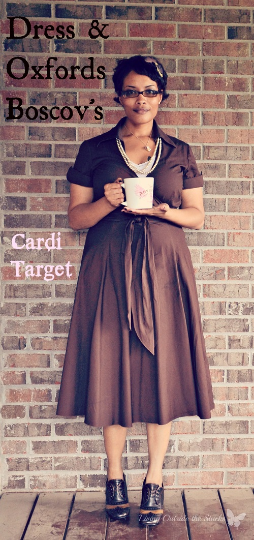 Pink Cardi Brown Dress and Oxfords {Living Outside the Stacks}