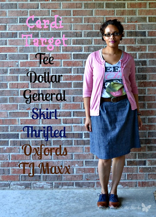 Pink Cardi Tee Denim Skirt and Oxfords {Living Outside the Stacks}