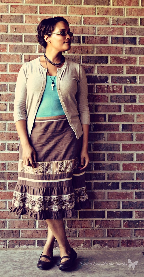 Cream Cardi, Turquoise Tank, and Brown Skirt {Living Outside the Stacks}