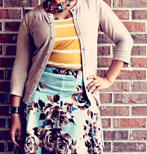 Taupe Cardi Striped Tee and Floral Skirt {Living Outside the Stacks}