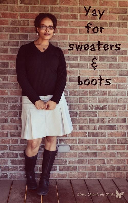 Black Sweater Khaki Skirt and Black Boots {Living Outside the Stacks}