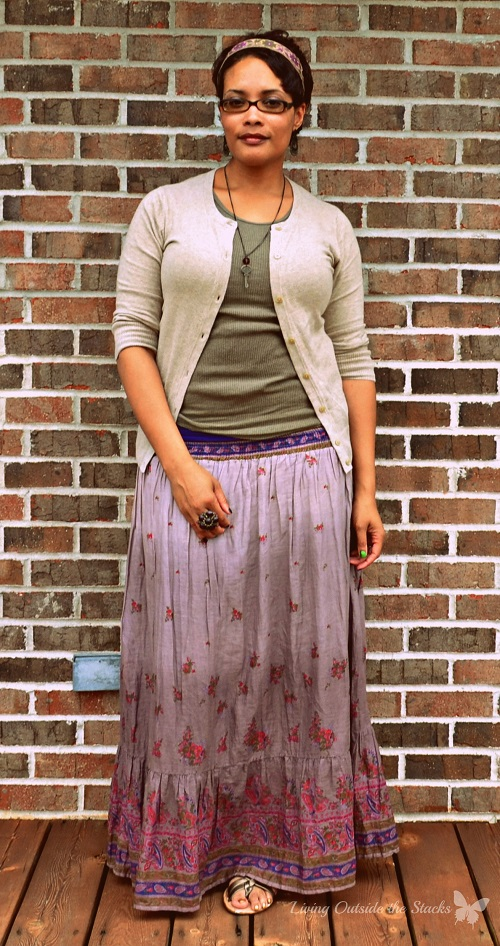 Beige Cardi Olive Tank and Lavender Maxi {Living Outside the Stacks}