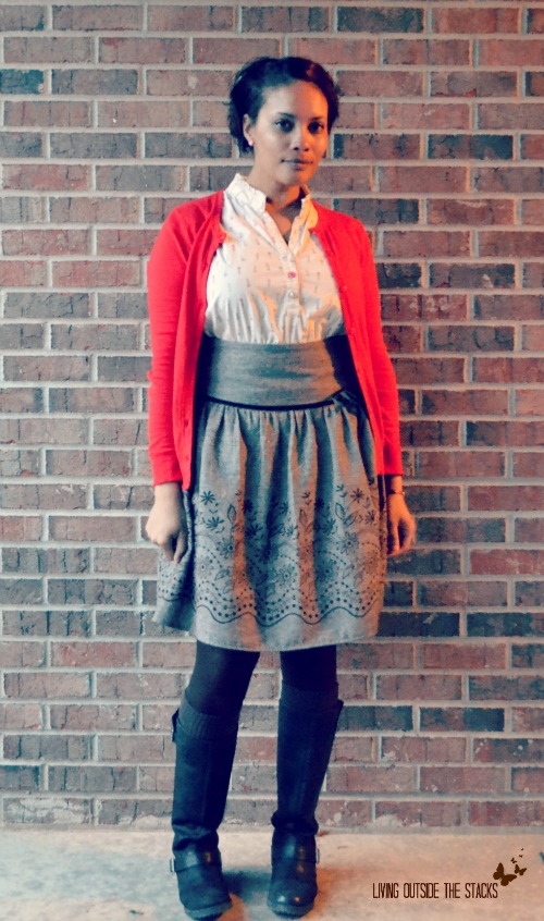 Red Cardi, White Blouse, and Brown Skirt {Living Outside the Stacks}