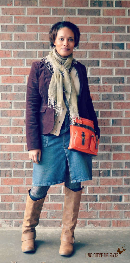 Brown Corduroy Jacket Neutral Scarf Gray Cardi and Denim Skirt {Living Outside the Stacks}