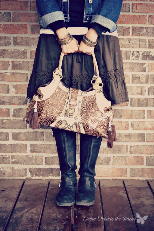 Denim Jacket Black Tee Brown Skirt and Boots {Living Outside the Stacks}