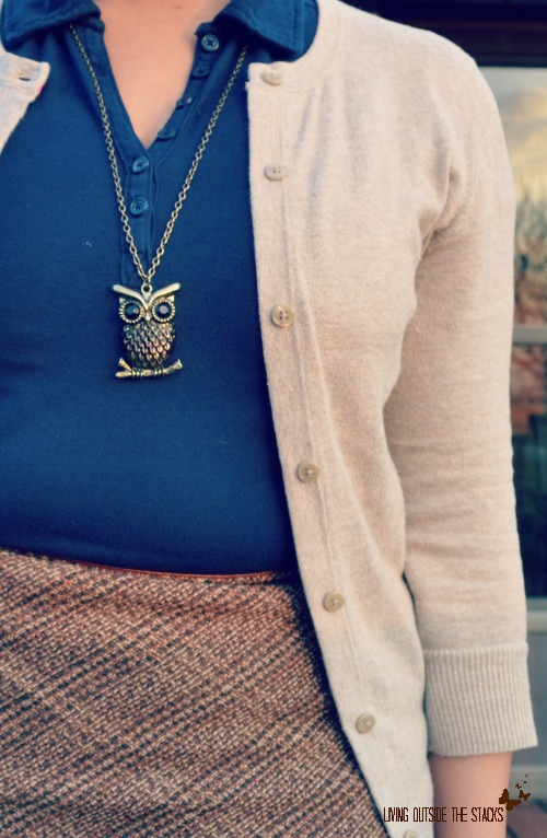 Cream Cardi Blue Shirt Plaid Skirt Burgundy Tights and Oxfords {Living Outside the Stacks}