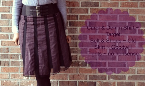 Gray Cardi Black Belt Dark Purple Skirt and Black Shoes {Living Outside the Stacks}