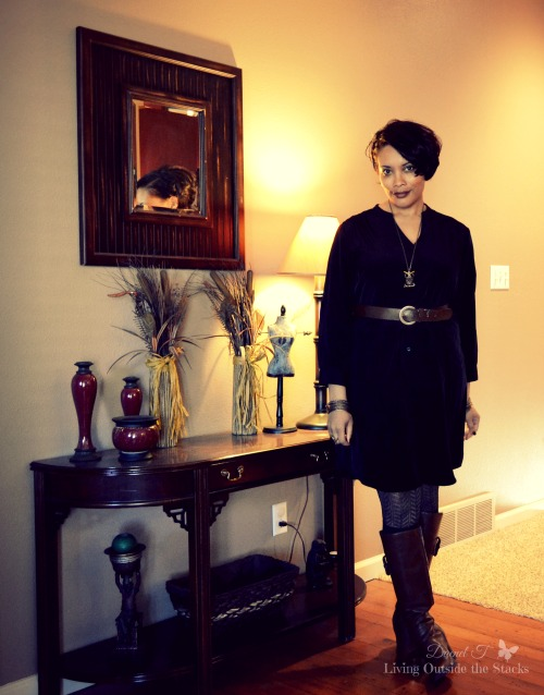 Tan Cardi Black Dress Gray Tights and Brown Boots {Living Outside the Stacks}
