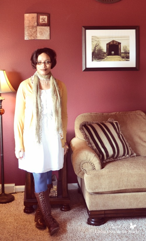 Mustard Cardi White Dress Blue Tights and Brown Boots {Living Outside the Stacks}