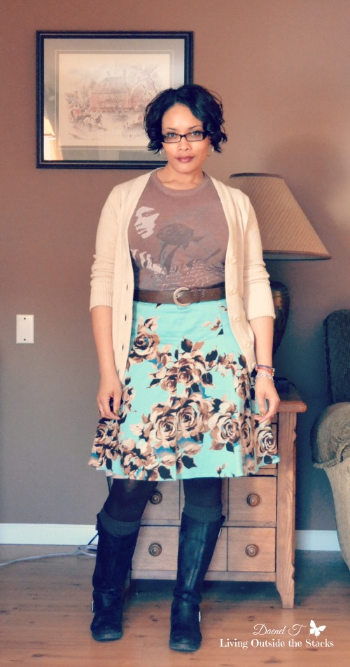 Cream Cardi Brown Tee and Teal Floral Skirt {Living Outside the Stacks}