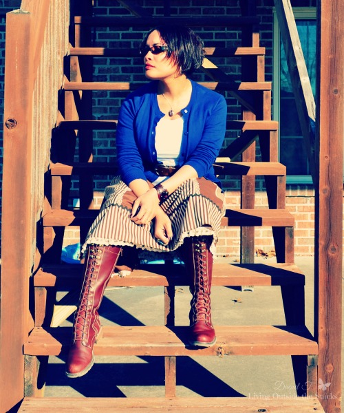 Blue Cardi White Tee Brown Striped Skirt and Brown Boots {Living Outside the Stacks}