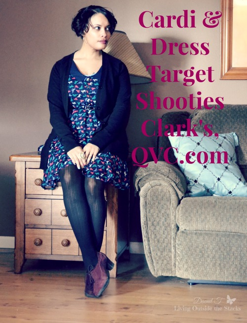 Black Cardigan Horse Print Dress and Wine Shooties {Living Outside the Stacks}