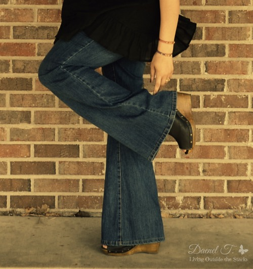 Black Embroidered Top, Jeans, and Black Wedges {Living Outside the Stacks}