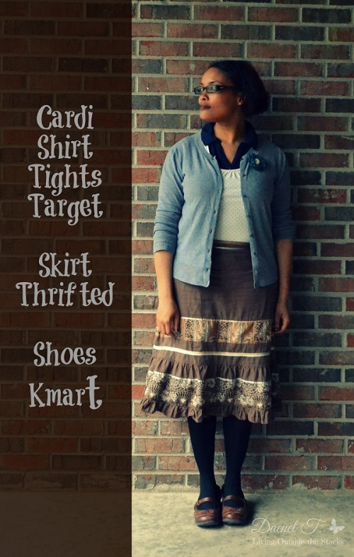 Gray Cardi Cream Shirt Brown Skirt Black Tights and Brown Shoes {Living Outside the Stacks}