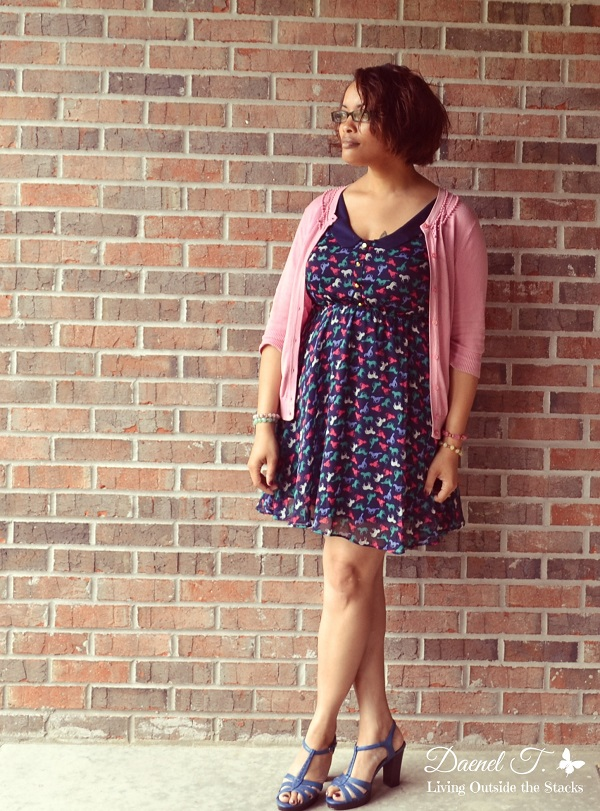 Pink Cardi Horse Print Dress and Blue Shoes {Living Outside the Stacks}