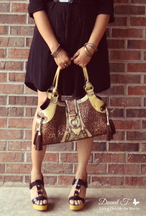 Black Shirt Dress Brown Sharif Bag and Black Clogs {Living Outside the Stacks}