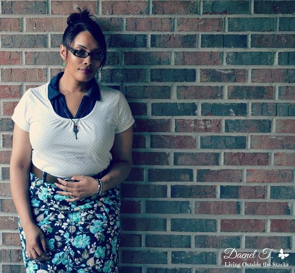 Cream Polka Dot Shirt, Floral Skirt, and Oxfords {Living Outside the Stacks}