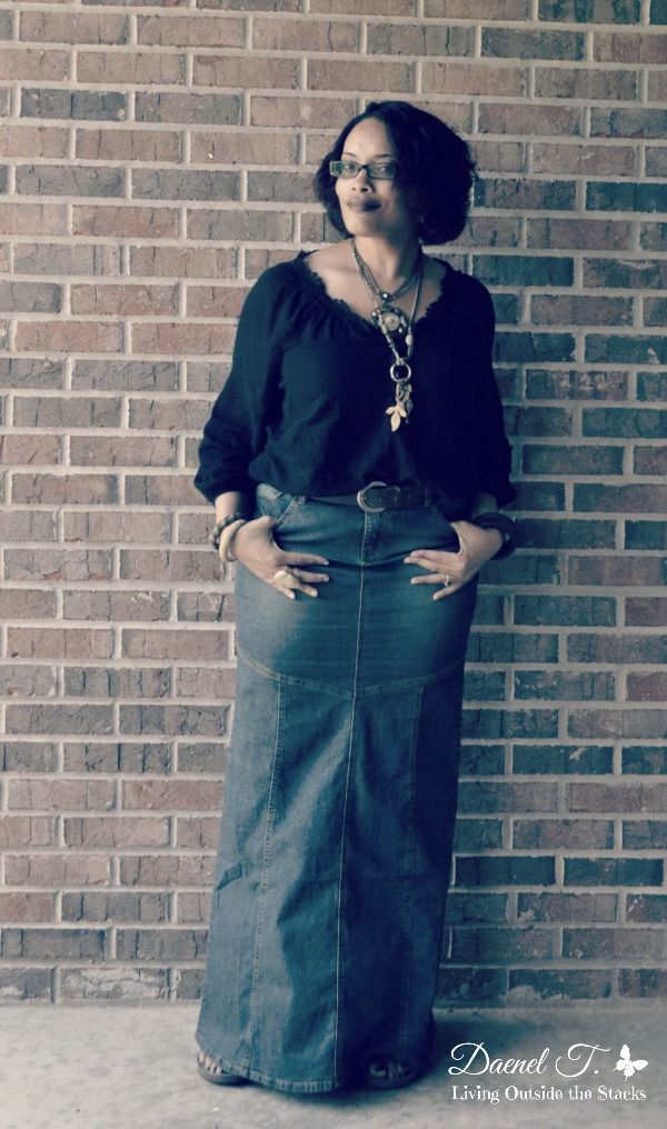Black Poet Blouse and Denim Maxi Skirt {Living Outside the Stacks}