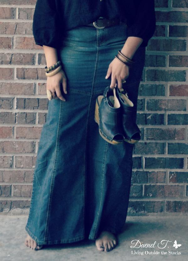 Black Poet Blouse and Denim Maxi Skirt {Living Outside the Stacks}
