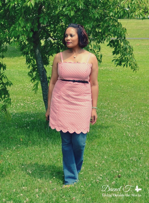 Pink Polka Dot Dress Over Jeans and Sseko Sandals Living Outside the Stacks}
