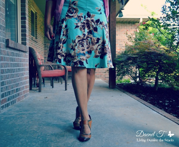 Pink Cardi, Mustard Striped Tee, and Floral Skirt {Living Outside the Stacks}