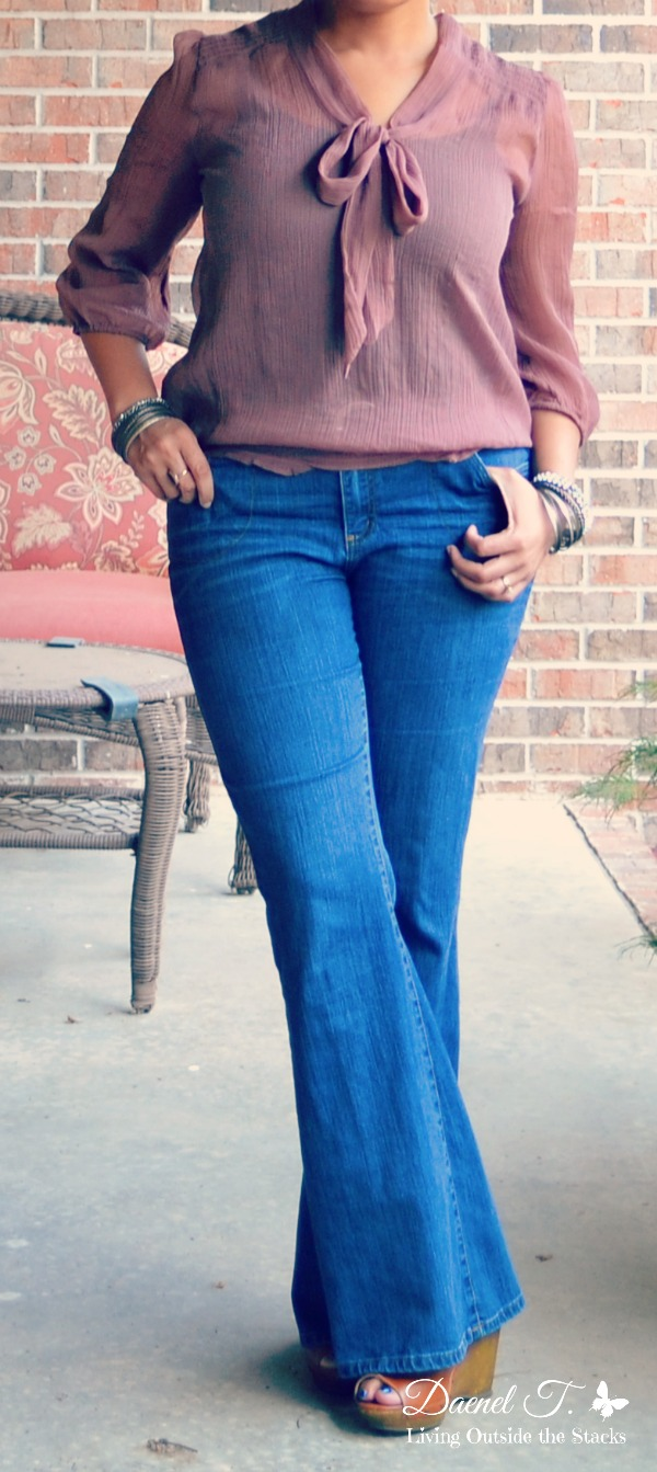 Sheer Blouse Flare Leg Jeans and Platform Wedges {Living Outside the Stacks}