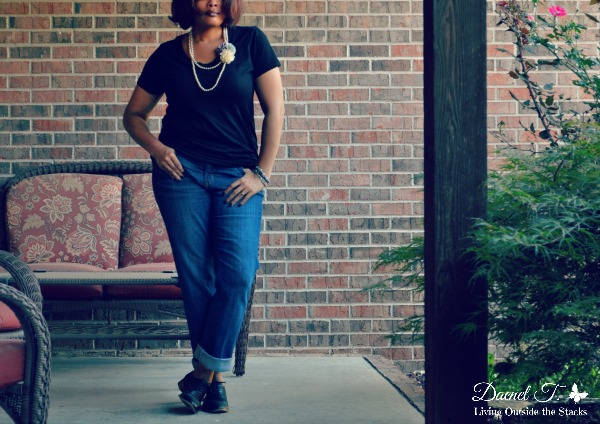 Pearl Necklace, Black Tee, and Jeans {Living Outside the Stacks}