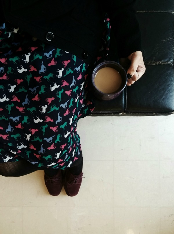Horse Print Dress with Coffee {Living Outside the Stacks}
