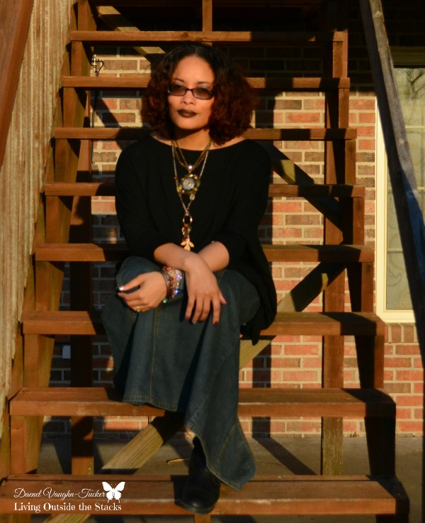 Black Batwing Sweater Denim Maxi and Black Boots {Living Outside the Stacks}