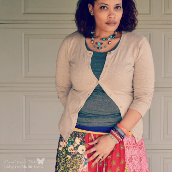 Neutral Cardi Tanks and Multicolored Skirt {Living Outside the Stacks}
