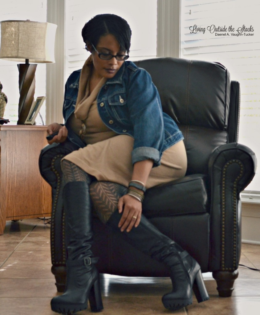 Denim Jacket Camel Sweater Dress Gray Tights and Black Boots {living outside the stacks}