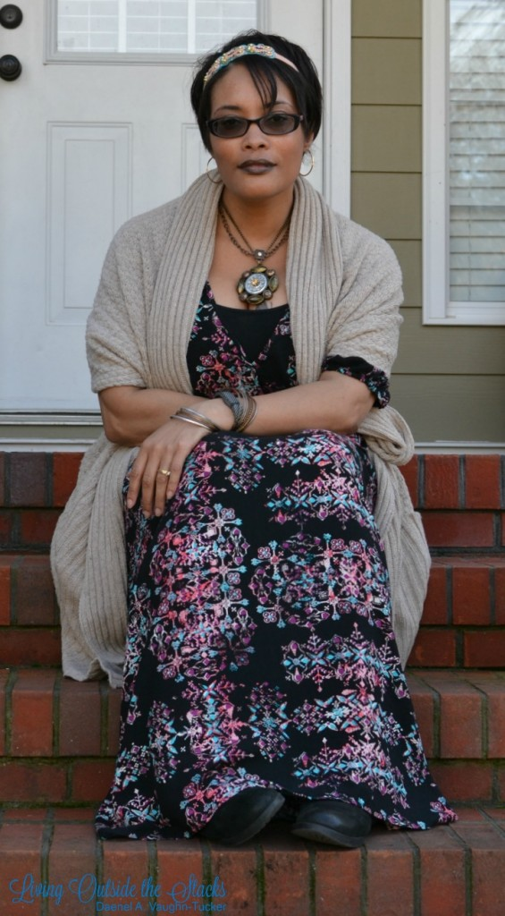 Maxi Dress and Oversized Sweater {living outside the stacks}