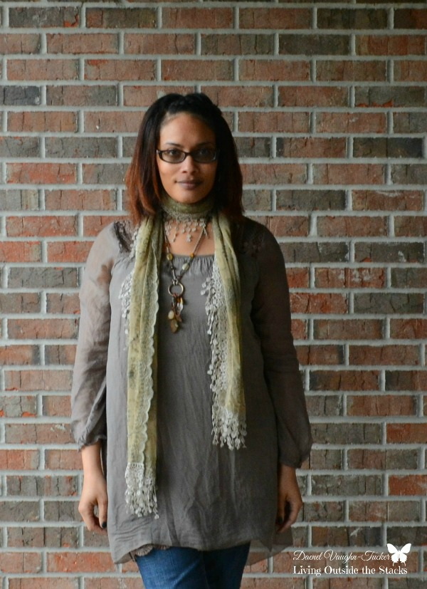 Neutral Top Scarf Jeans and Mary Janes {living outside the stacks}