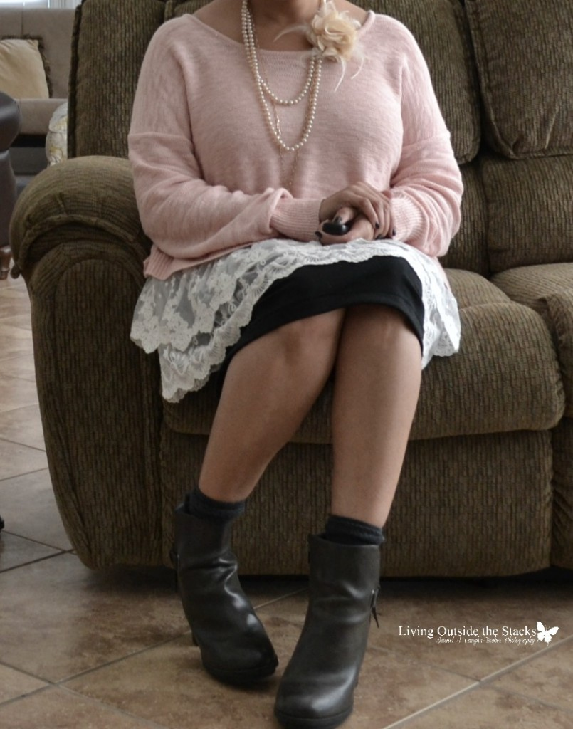 Pink Lace Sweater Black Knit Skirt Gray Socks and Boots {living outside the stacks}