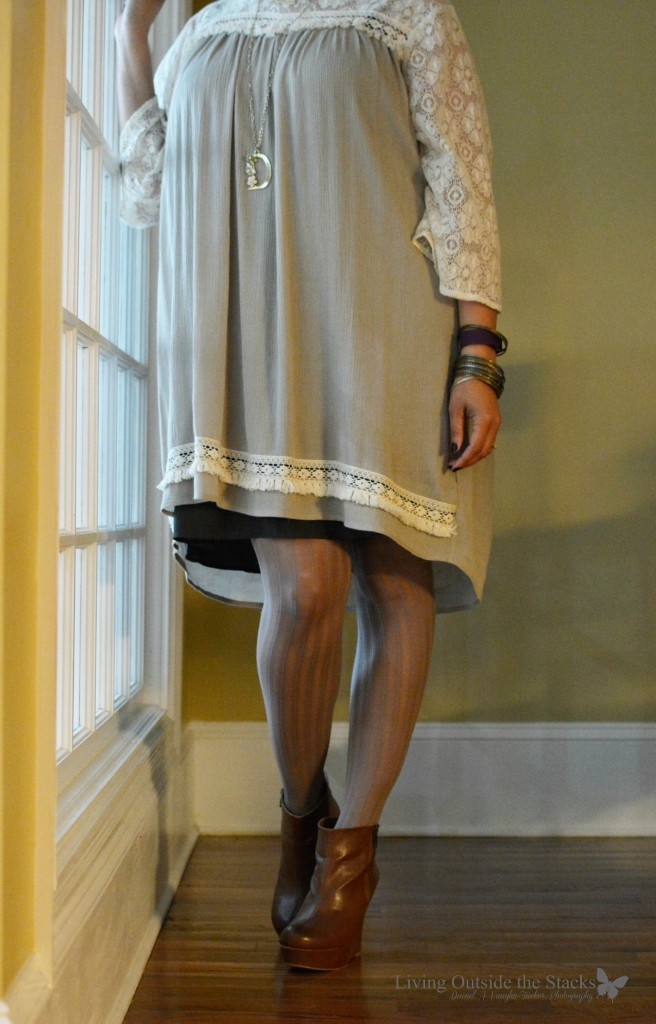 Willow Dress with Olive Slip and Willow Tights with Brown Booties {living outside the stacks} follow on Instagram @DaenelT