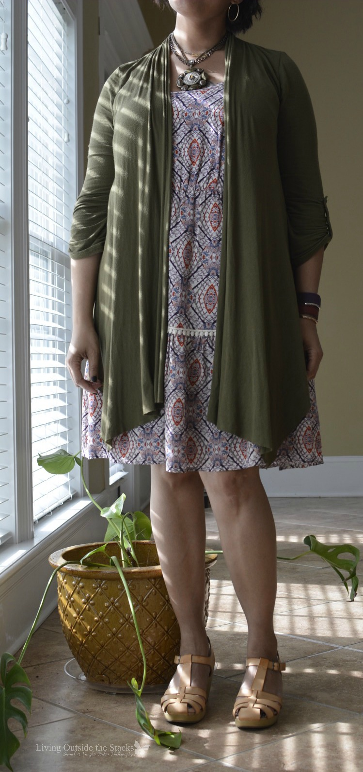 Olive Cardigan Print Dress and Neutral Clogs {living outside the stacks} #livingoutsidethestacks