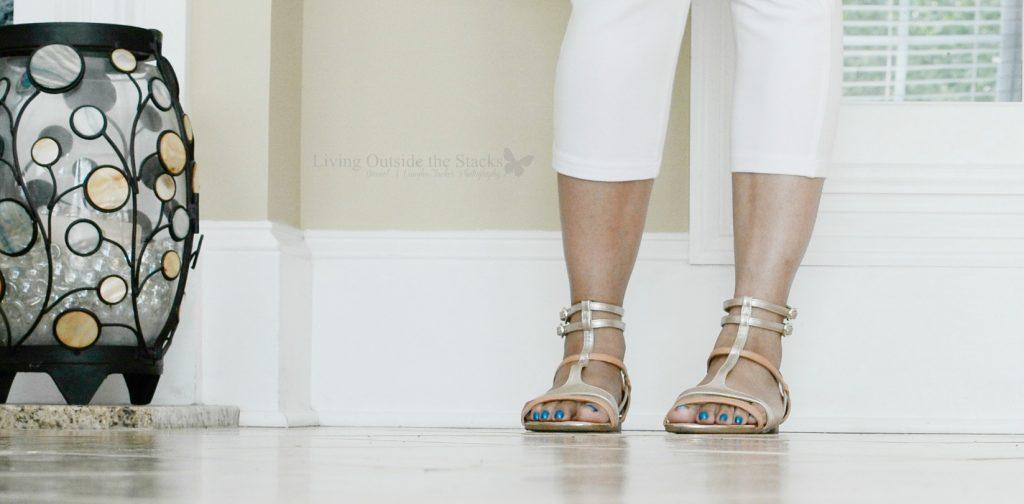 Petal Pink Logo Top White Capri Leggings and Gladiator Sandals {living outside the stacks}