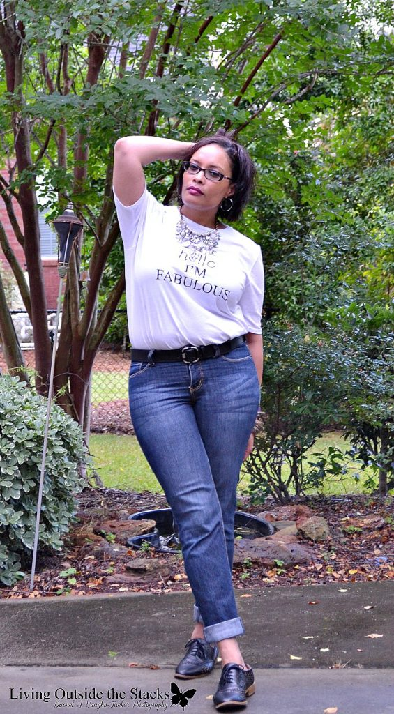 Hello Im Fabulous Tee and Jeans and Black Oxfords {living outside the stacks} #HelloImFabulous