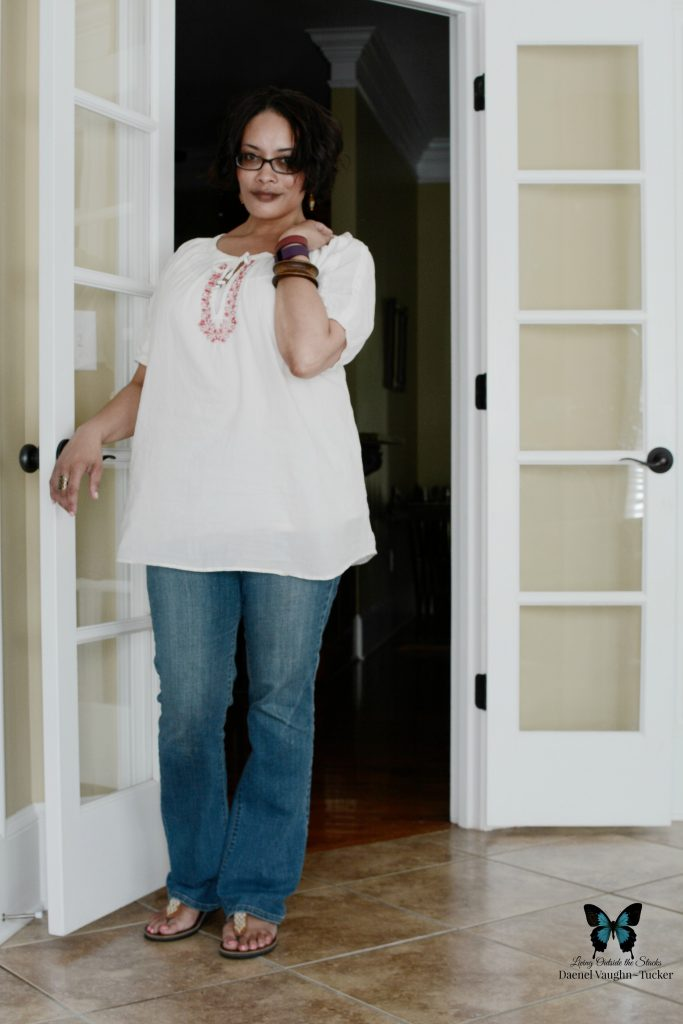 White Peasant Top Jeans and Sseko Sandals {living outside the stacks}