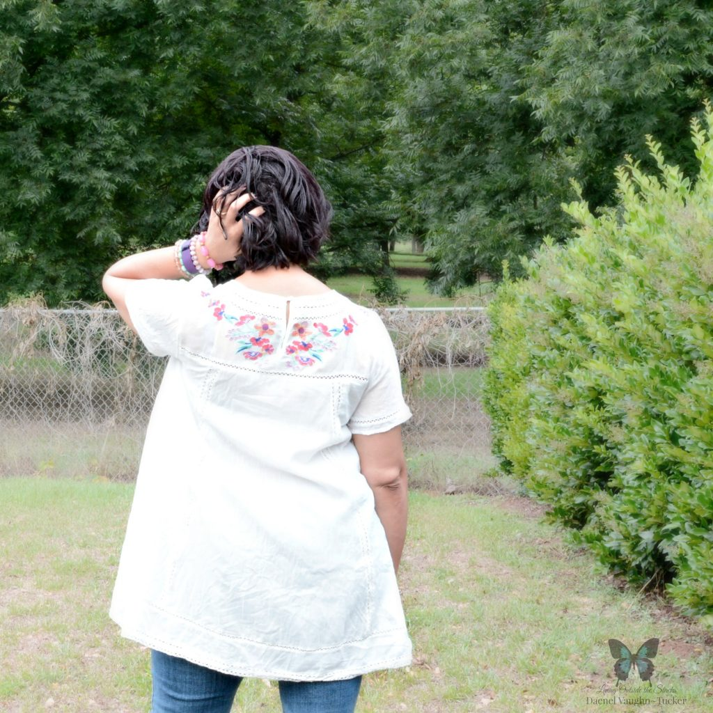 Embroidered Tunic Jeans and Sandals 1 {Living Outside the Stacks}
