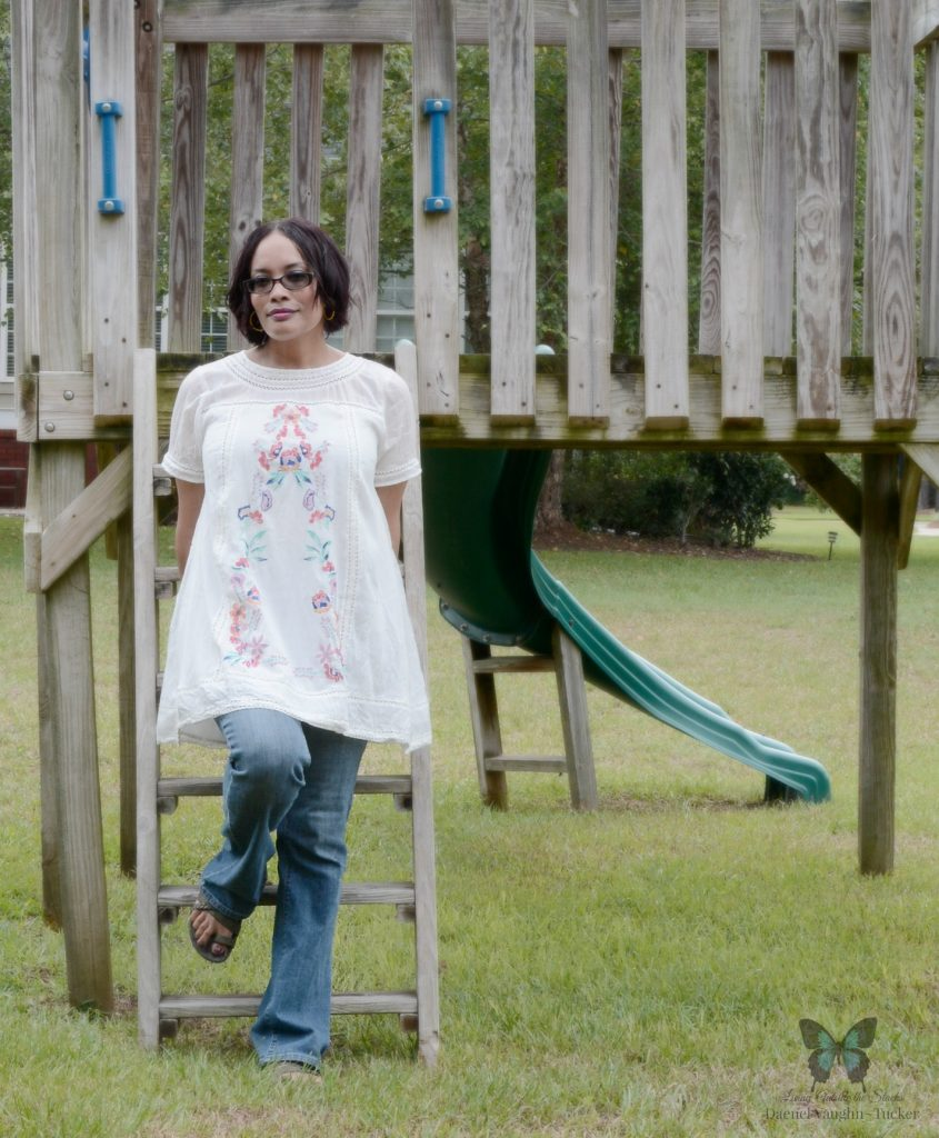Embroidered Tunic Jeans and Sandals 2 {Living Outside the Stacks}