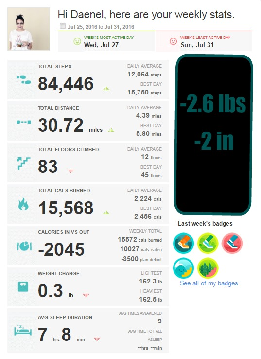 Fitbit Last Week of July Stats {living outside the stacks} #operationsnapback